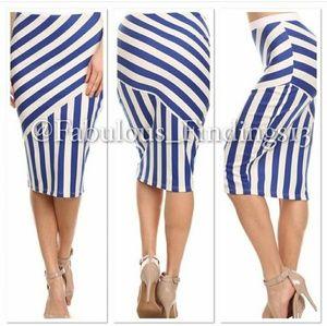 🆕Blue & White Pencil Skirt Sizes Small-1X